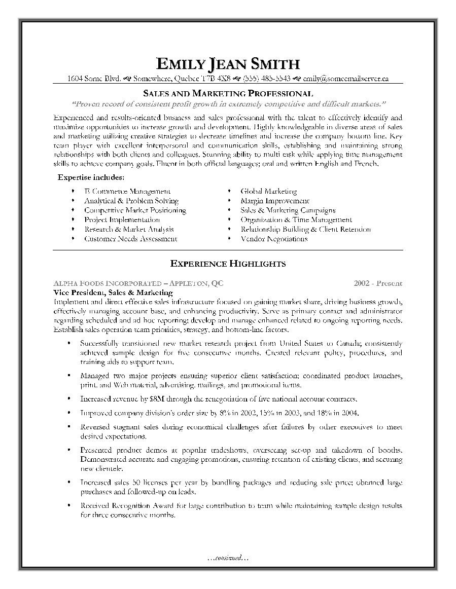 Free Marketing Resume Templates Sales and Marketing Resume Sample Page 1 Resume Writing