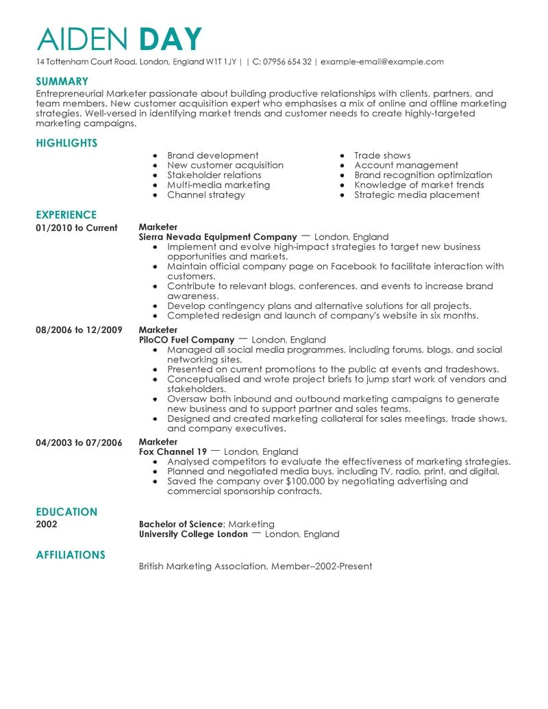 Free Marketing Resume Templates Sample Marketing Resume Sample Resumes