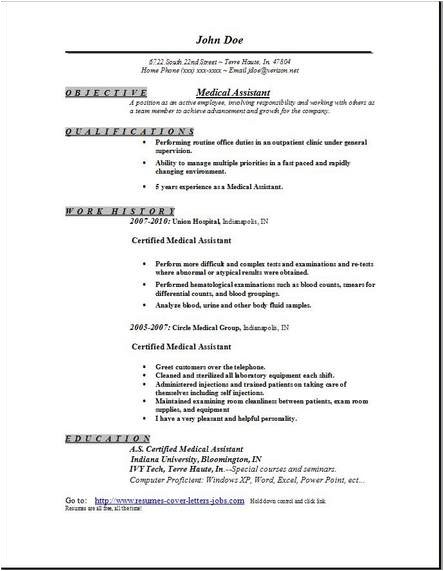 Free Medical assistant Resume Templates Medical assistant Resume Occupational Examples Samples