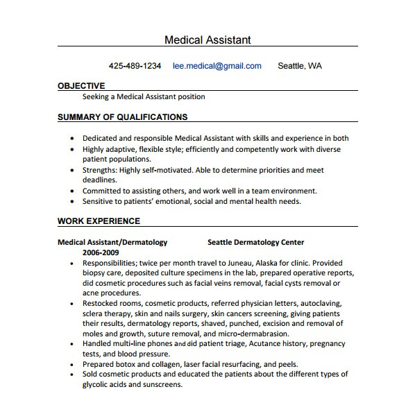 Free Medical assistant Resume Templates Medical assistant Resume Template 8 Free Word Excel