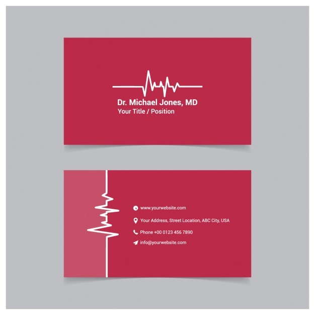Free Medical Business Card Templates Printable Red Medical Business Card Template Vector Free Download