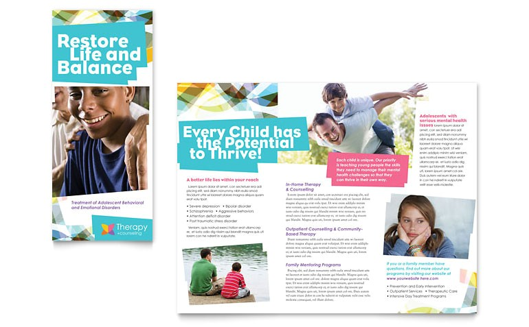 adolescent counseling tri fold brochure templates md0222301d