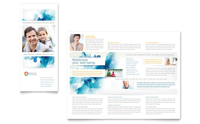 behavioral counseling tri fold brochure template design md0342301