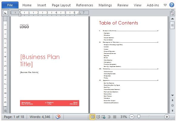 Free Microsoft Word Business Plan Template Business Plan Template for Microsoft Word