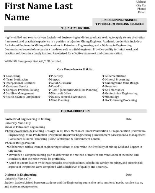 quality control engineer resume sample
