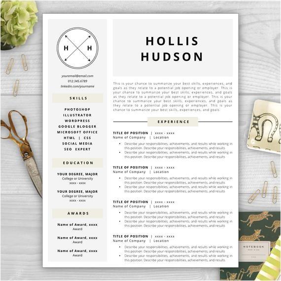 monogram resume template modern resume