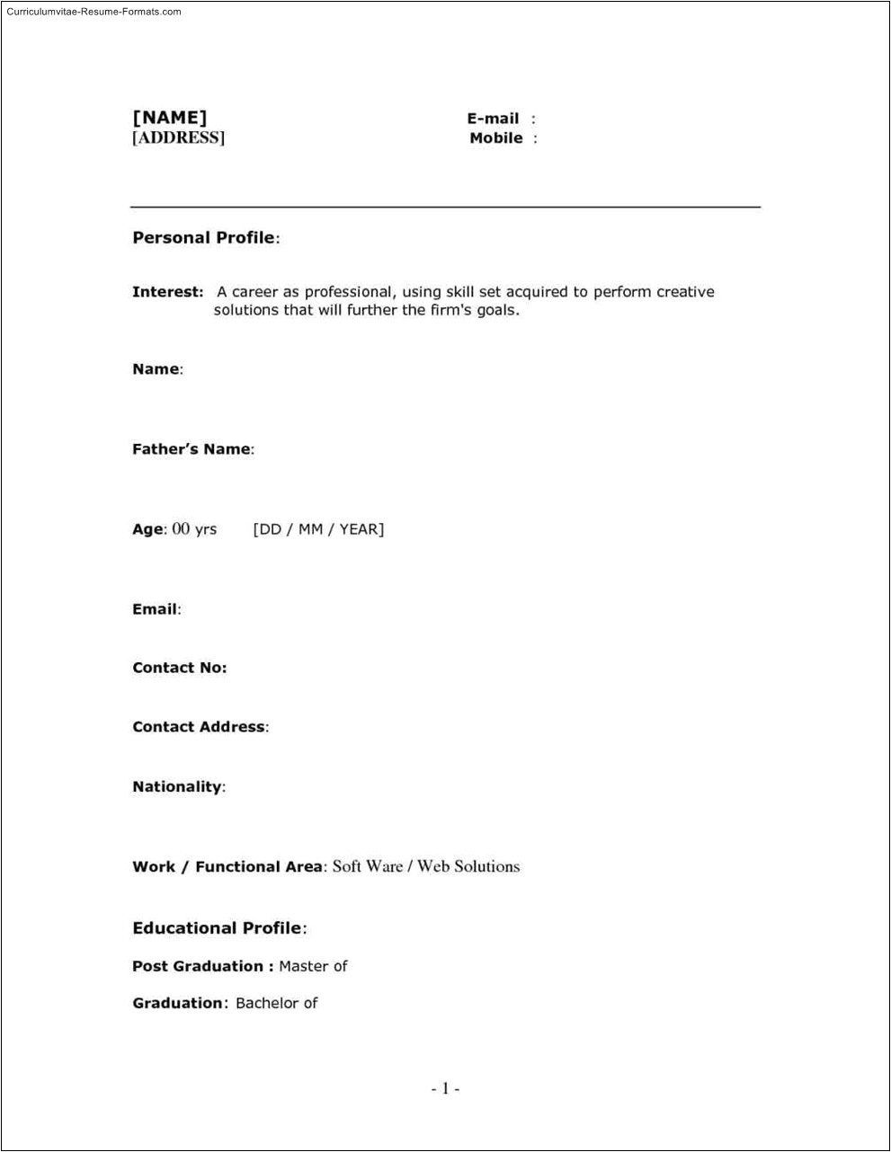 free one page resume templates