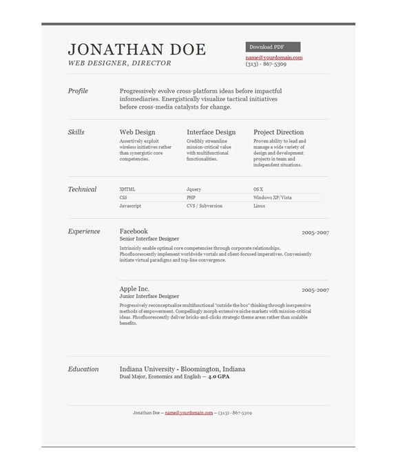 Free One Page Resume Template Free Professional Online One Page Resume Templates the