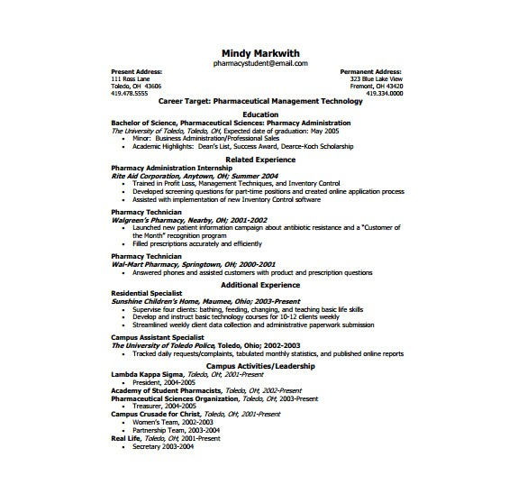 Free One Page Resume Template One Page Resume Template 12 Free Word Excel Pdf