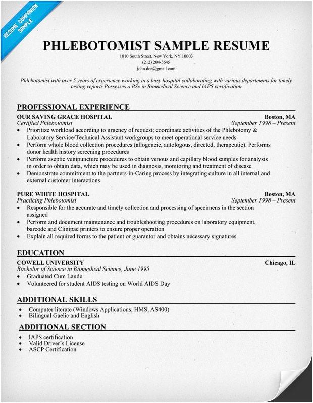 phlebotomist resume sample