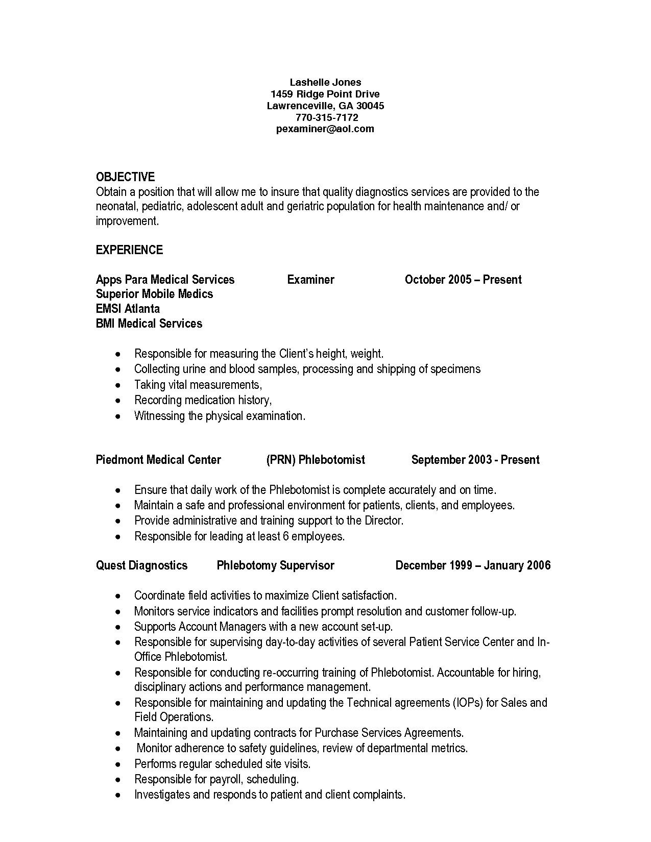 Free Phlebotomist Resume Templates Phlebotomy Resume Example Examples Of Resumes