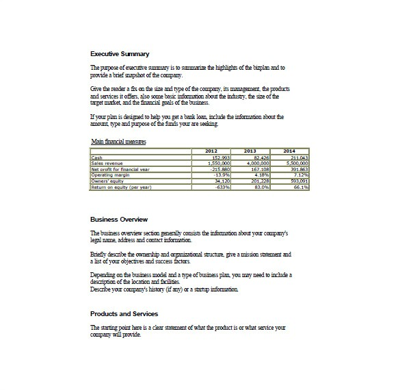 printable doc simple business plan format