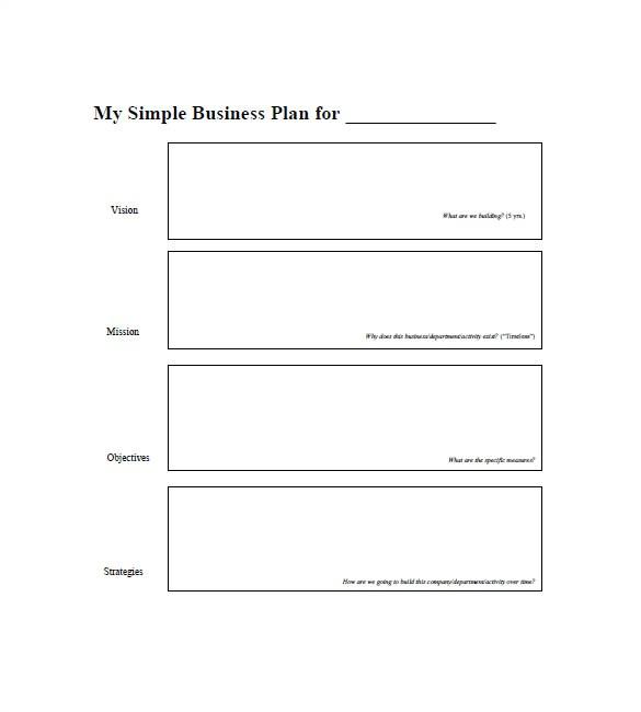Free Printable Simple Business Plan Template Simple Business Plan Template 20 Free Sample Example