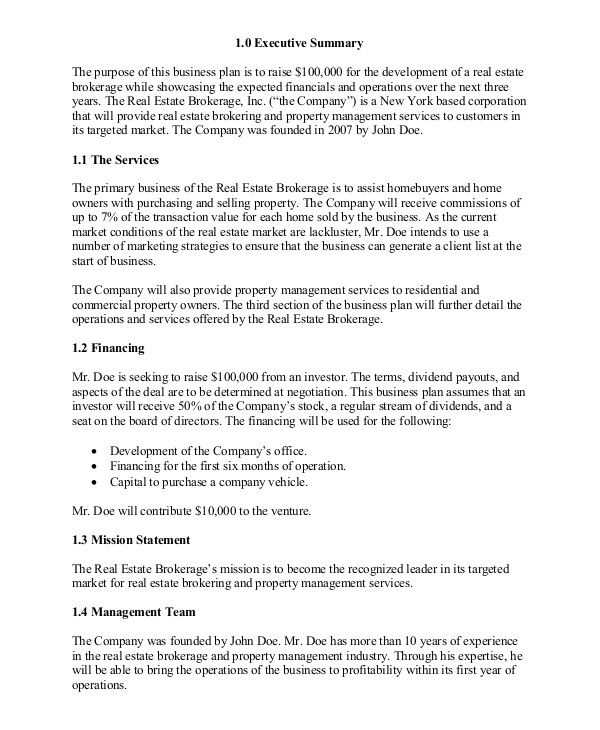 Free Real Estate Business Plan Template Word Real Estate Business Plan 11 Free Pdf Word Documemts