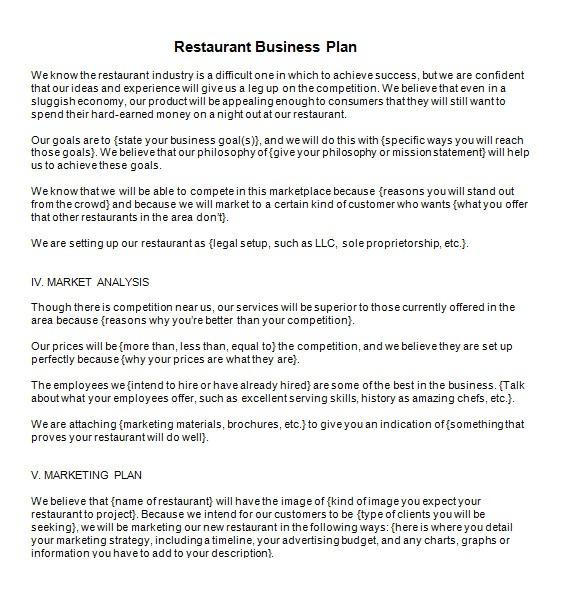Free Restaurant Business Plan Template Word 13 Sample Restaurant Business Plan Templates to Download