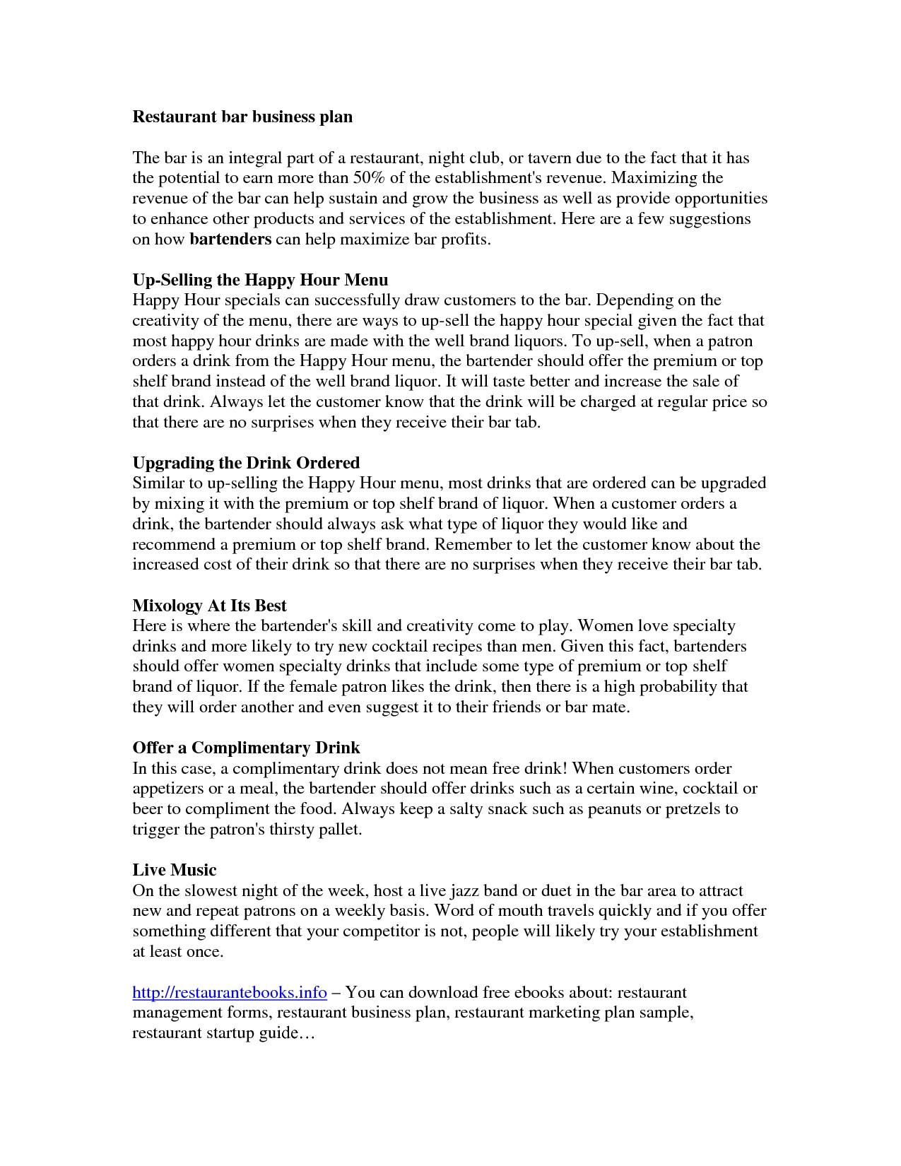 restaurant business plan template