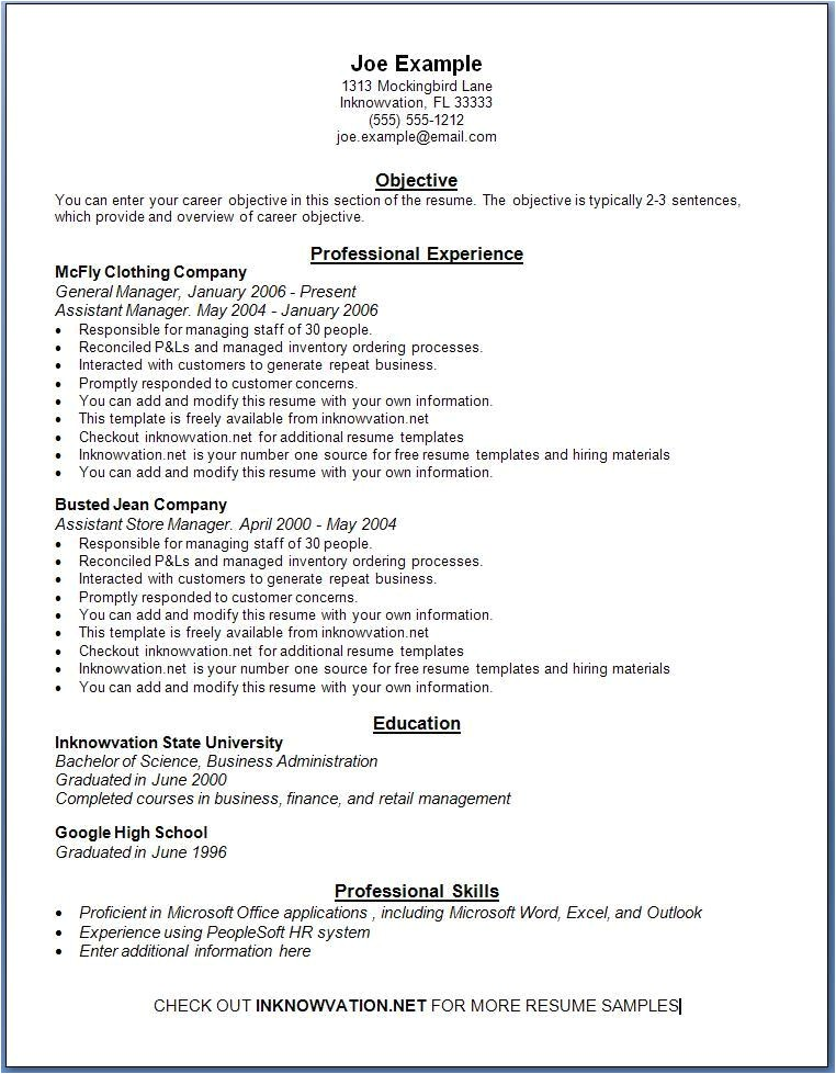 free resume samples online