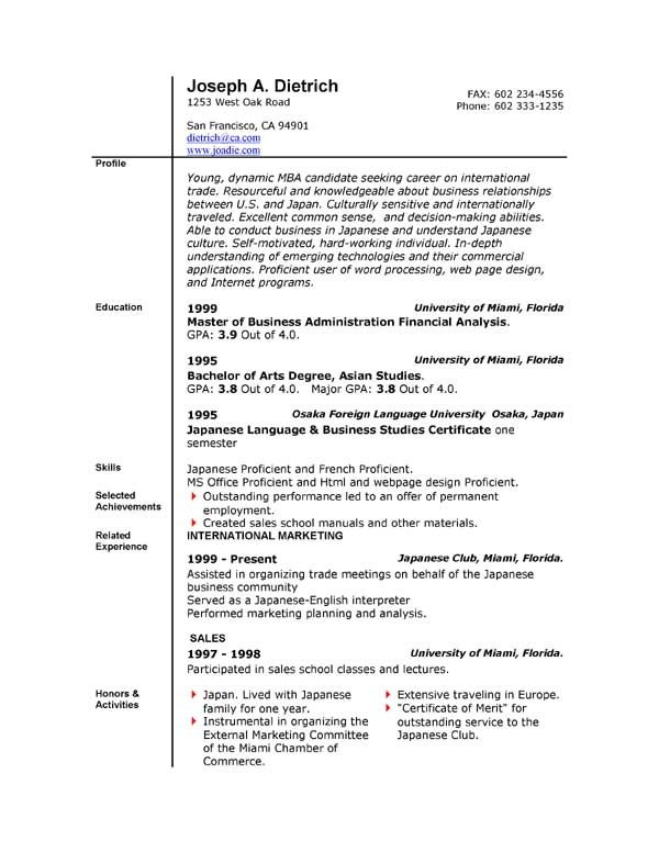 Free Resume Templates Download for Microsoft Word Job Resume Templates Free Microsoft Word south Florida