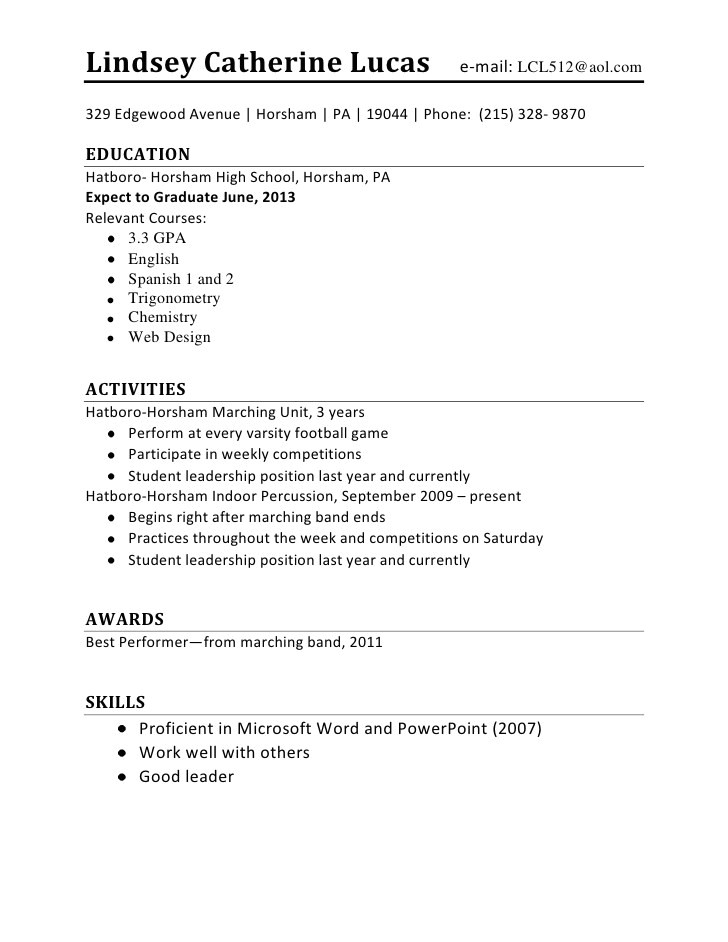 Free Resume Templates for High School Students with No Experience Resume for First Job No Experience How to Write A Resume