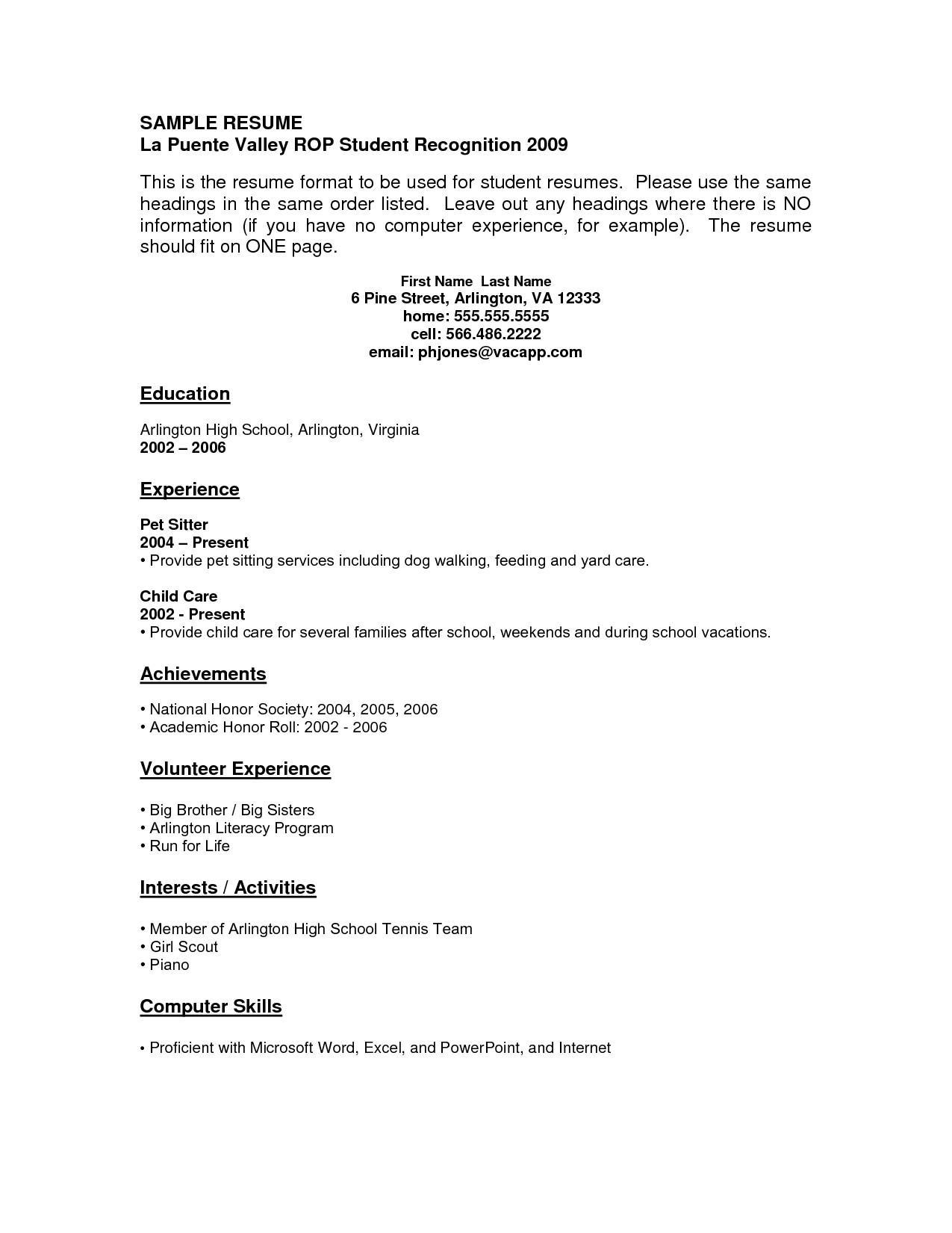 free resume templates for high school students with no