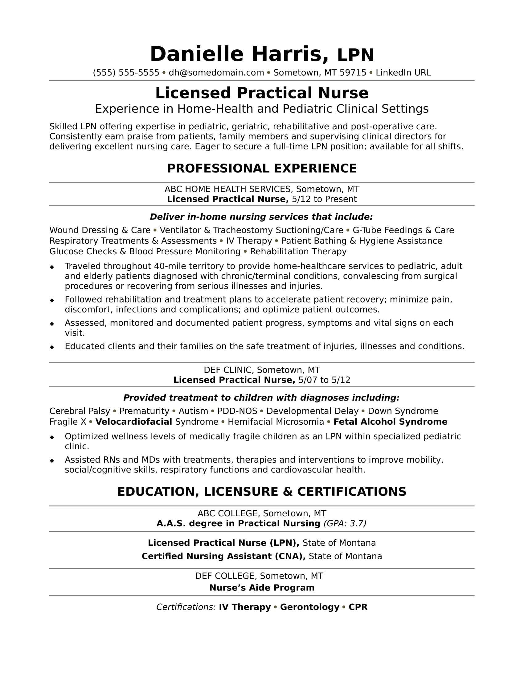 Free Resume Templates for Lpn Nurses Licensed Practical Nurse Resume Sample Monster Com