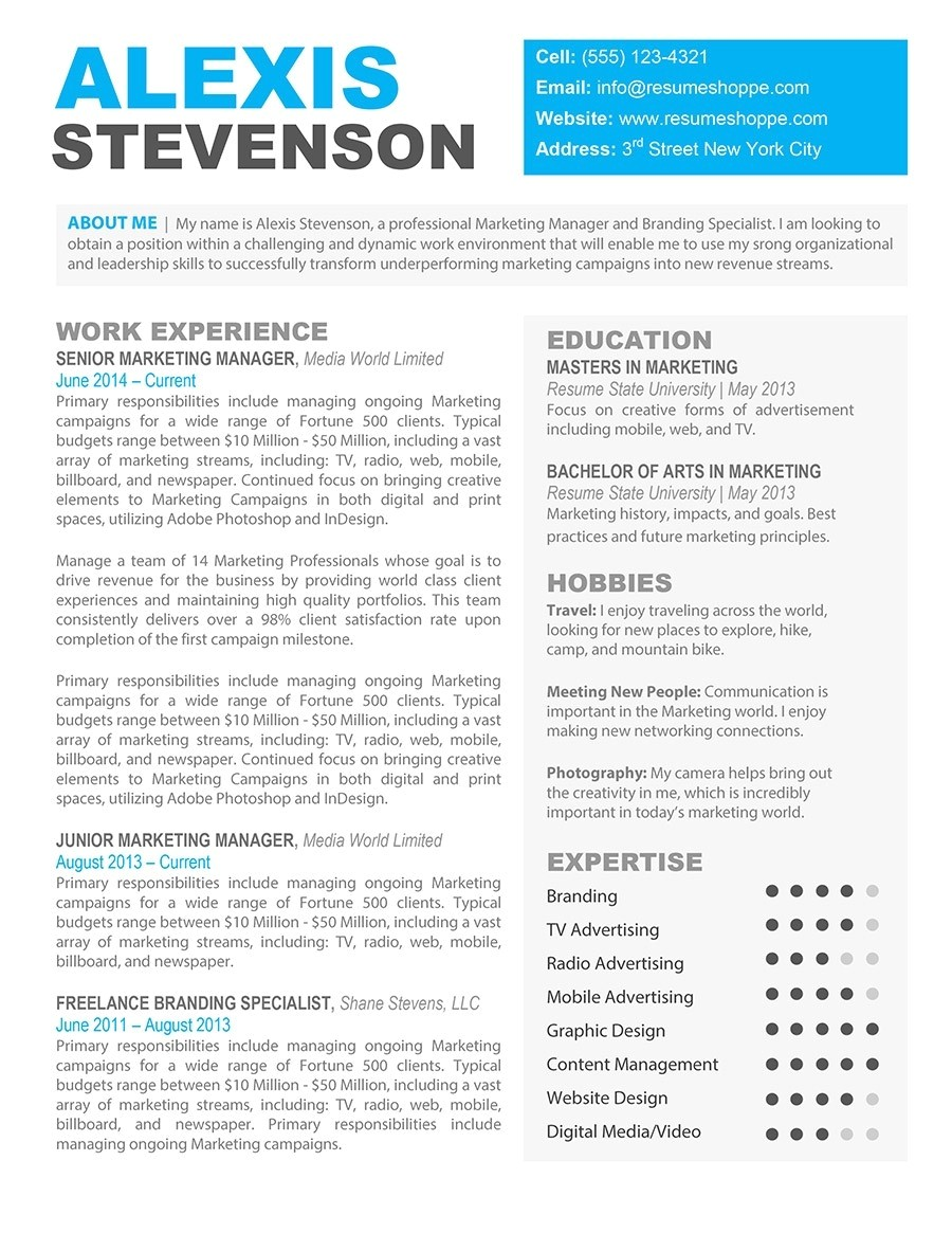 free resume template for macbook pro