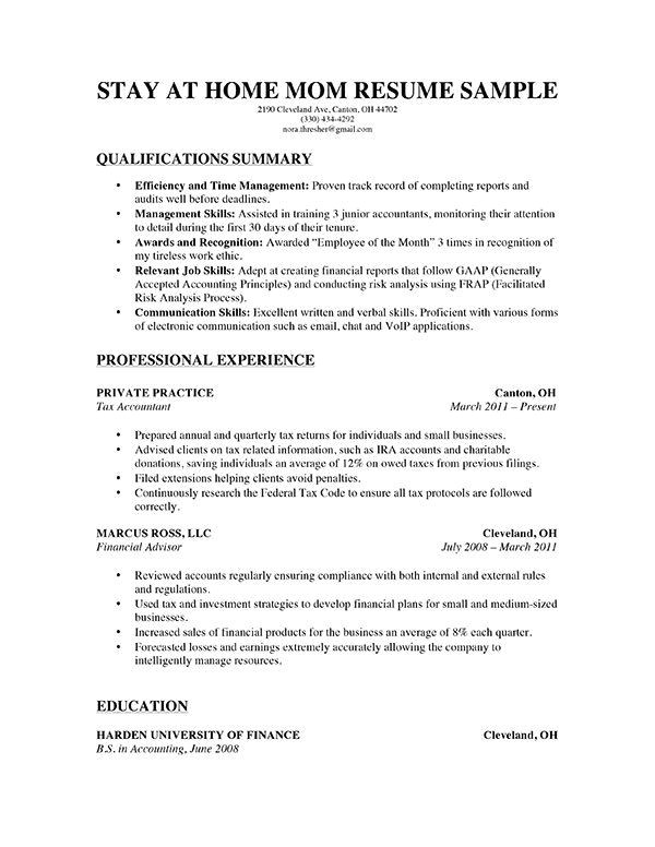 Free Resume Templates for Stay at Home Moms A Stay at Home Mom Resume for Parents with A solid Amount