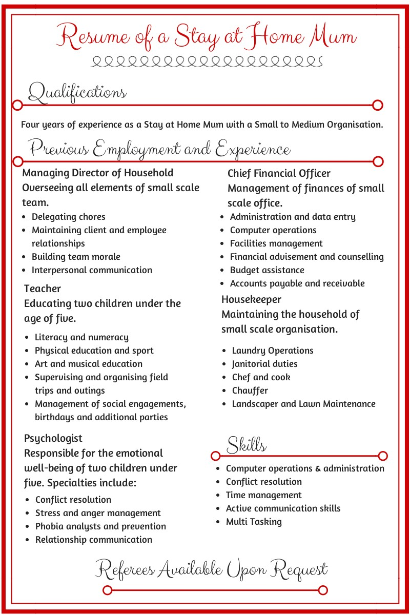 Free Resume Templates for Stay at Home Moms Resume Of A Stay at Home Mum Stay at Home Mum