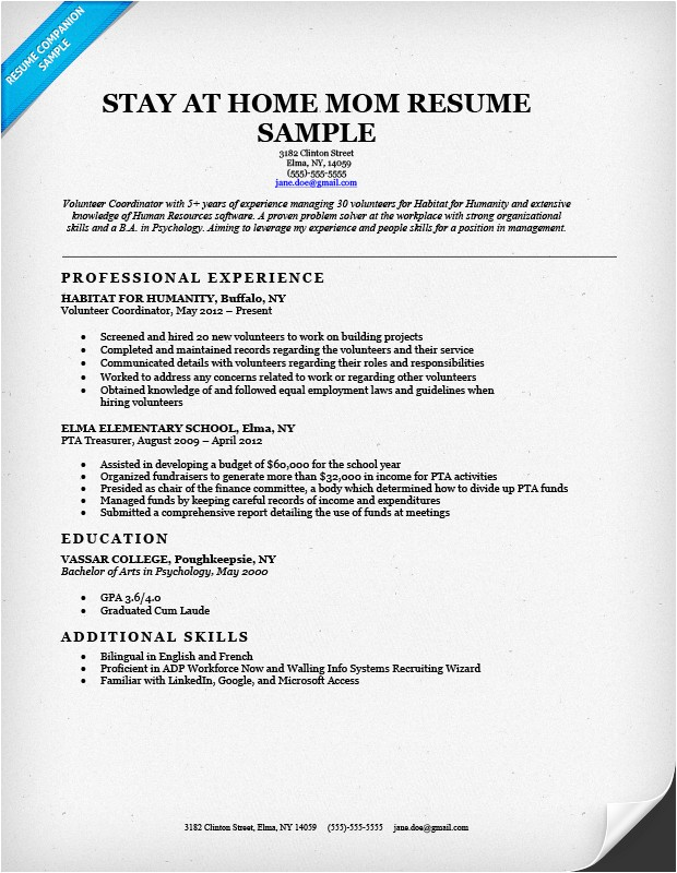 stay at home mom resume