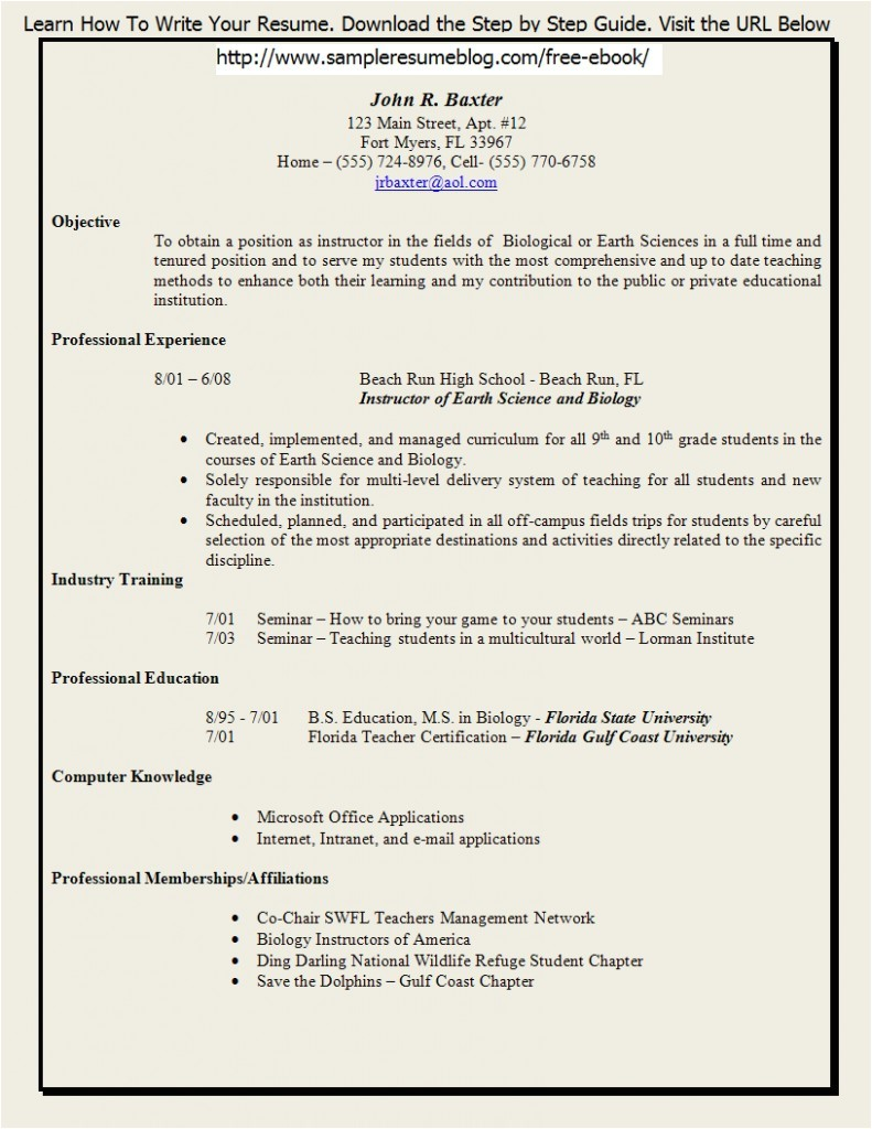Free Resume Templates for Teachers to Download Free Resume Templates for Teachers to Download Sample