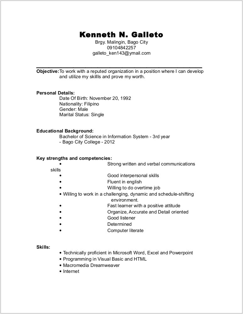 Free Resume Templates for Word Starter 2010 Free Resume Templates for Microsoft Word Starter Resume
