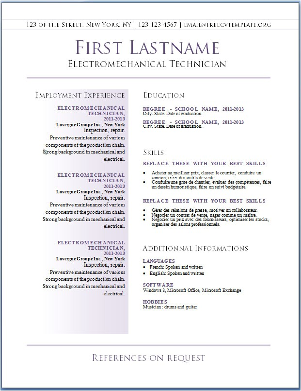 free resume templates for word starter 2010