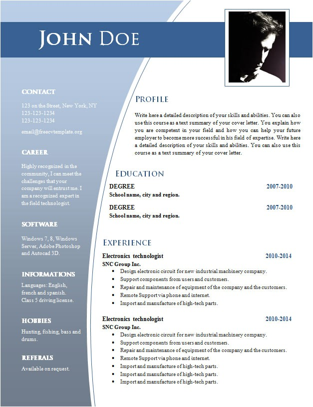 Free Resume Templates In Word Cv Templates for Word Doc 632 638 Free Cv Template