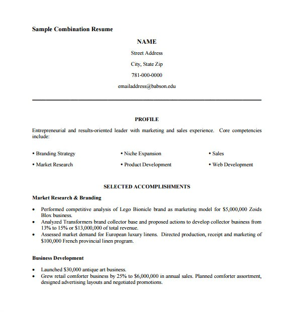 Free Resume Templates Pdf format Combination Resume Template 6 Free Samples Examples