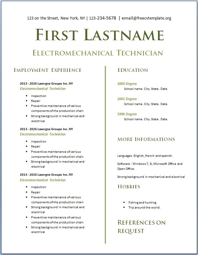 Free Resume Templates to Download Teens with No Experience Free Cv Template Dot org