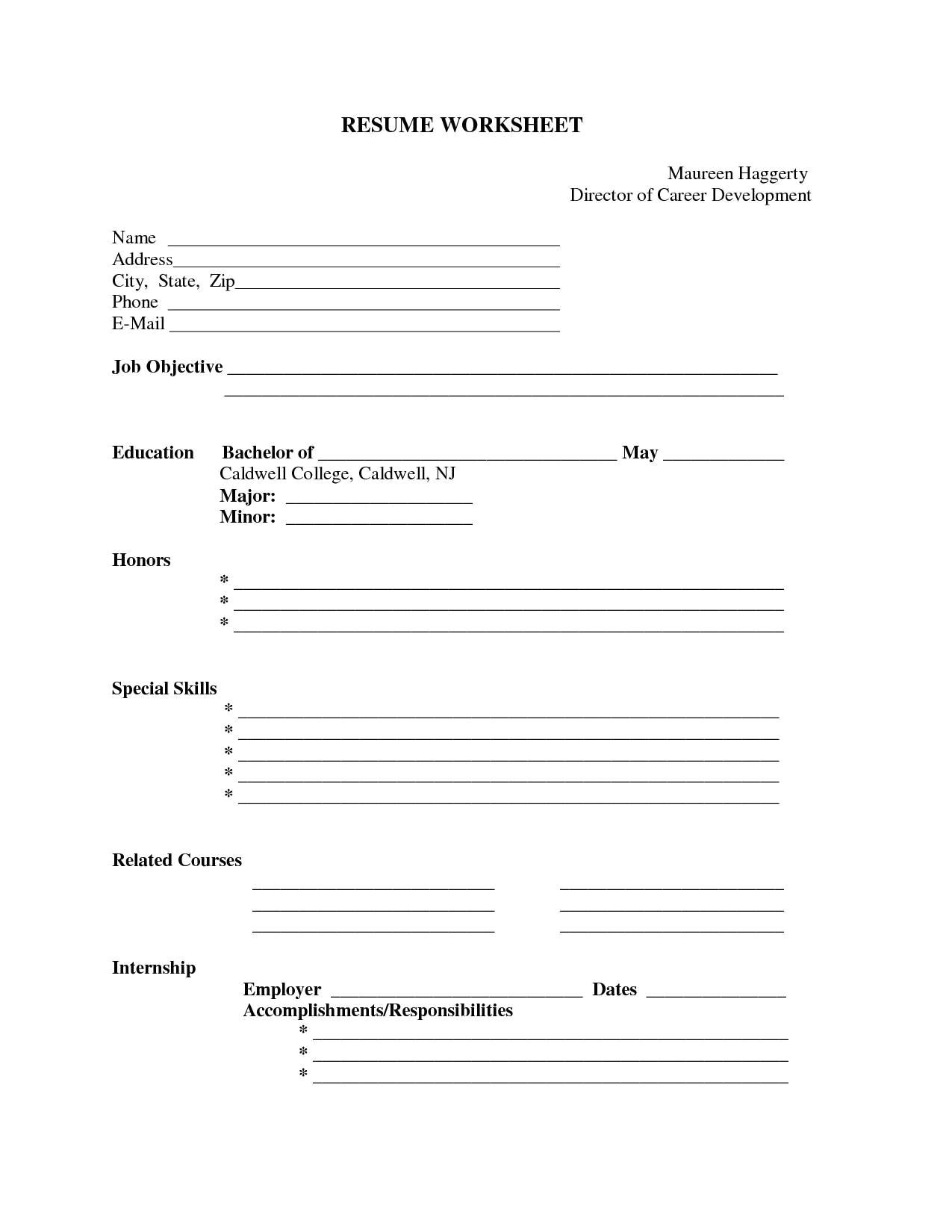 Free Resume Templates to Fill In and Print Free Printable Blank Resume forms Http Www