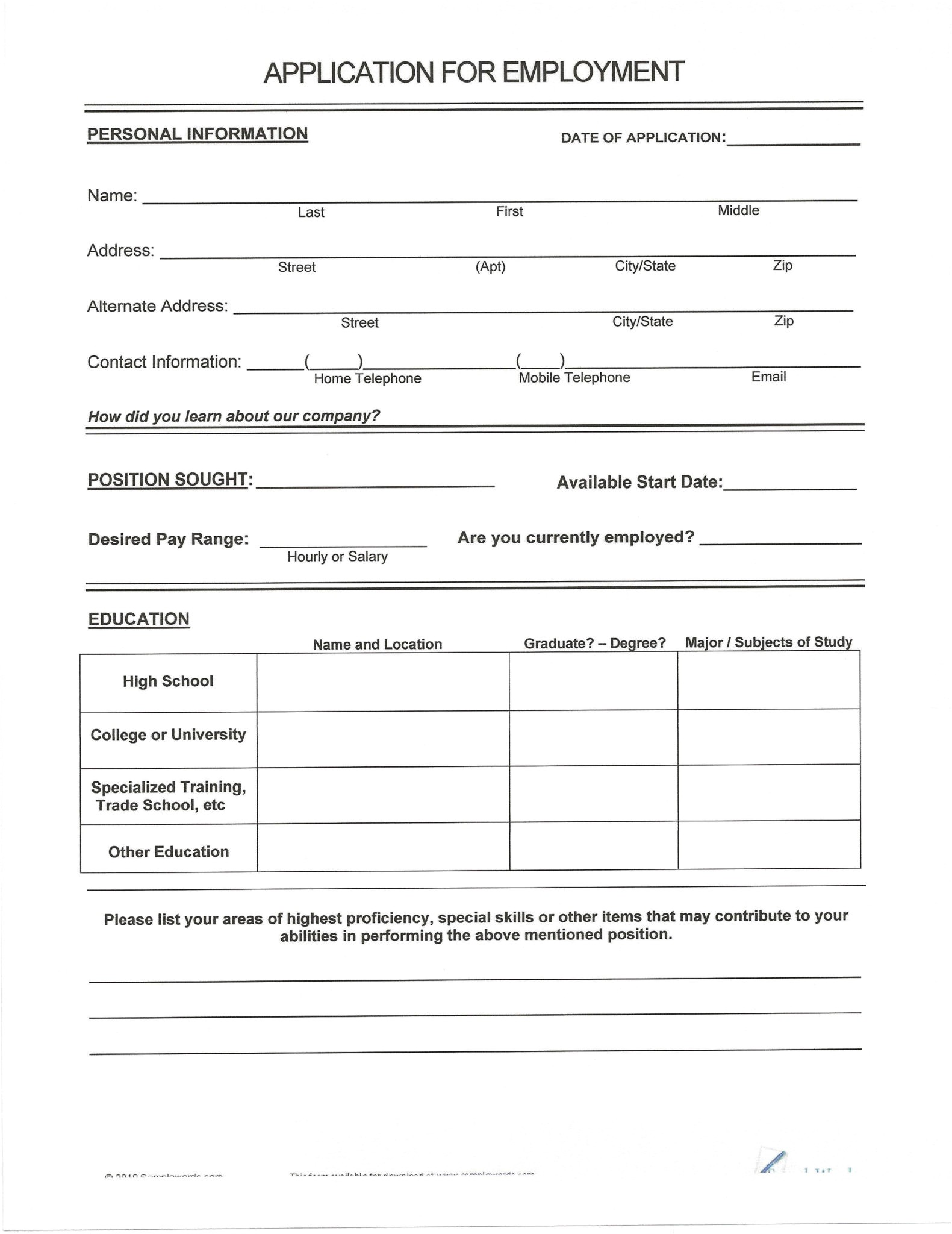 free resumes to fill out and print