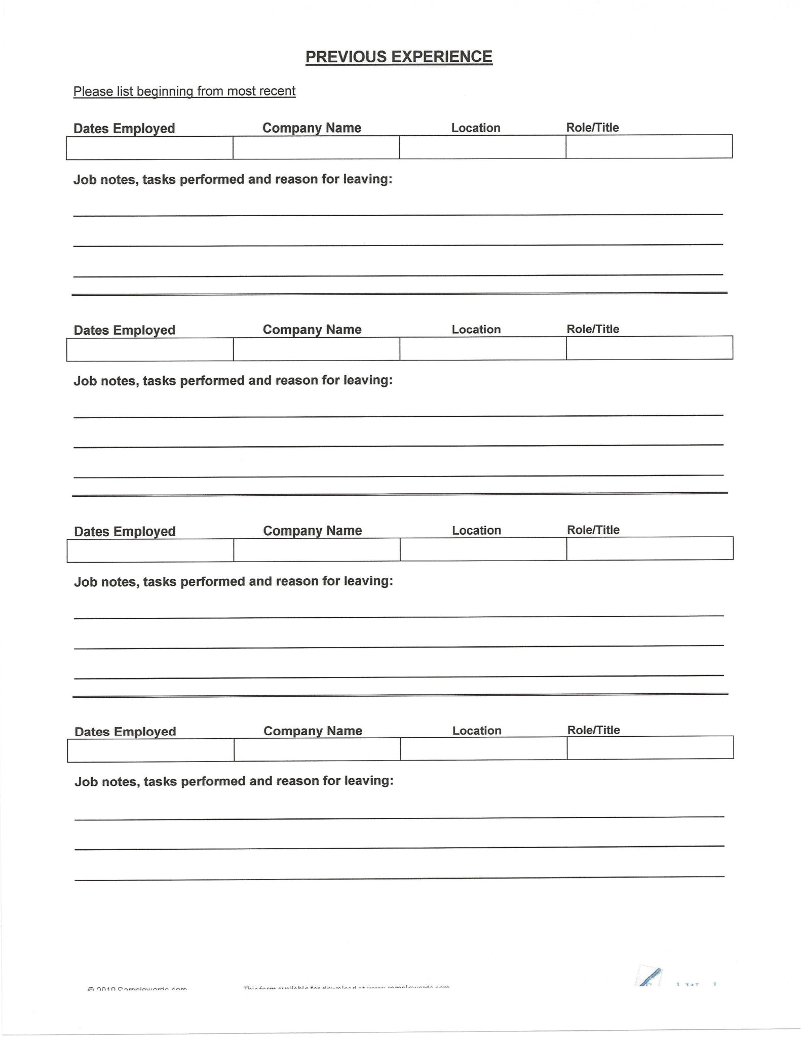 blank resume form to print out