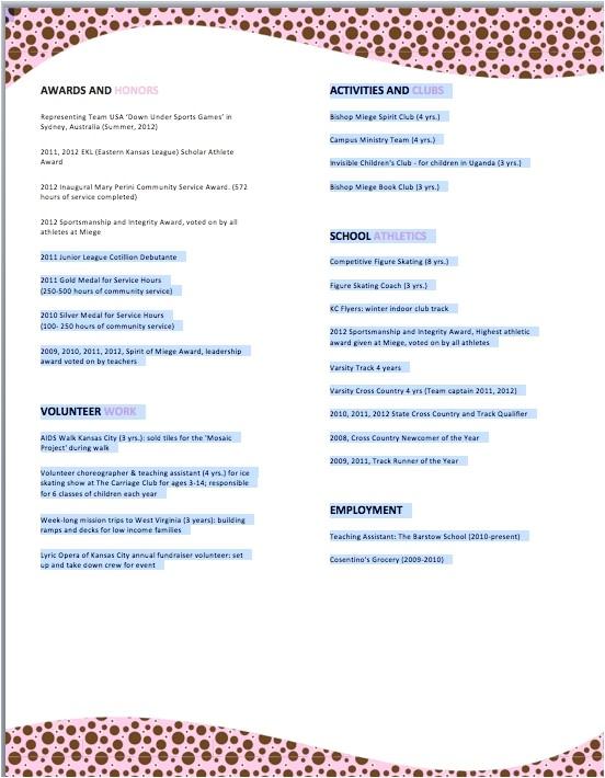 sample sorority resume