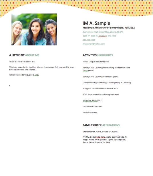 Free Rush Resume Template Sample sorority Rush Resume Best Professional Resumes