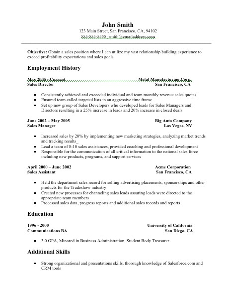 Free Sales Resume Templates Sales Resume Sales Resume Sample