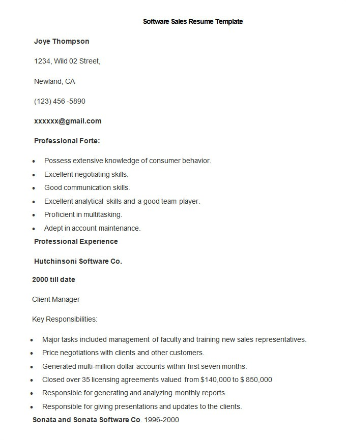 sales resume template