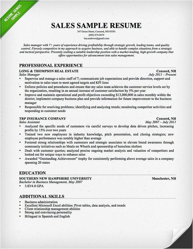 Free Sales Resume Templates Salesperson Marketing Cover Letters Resume Genius