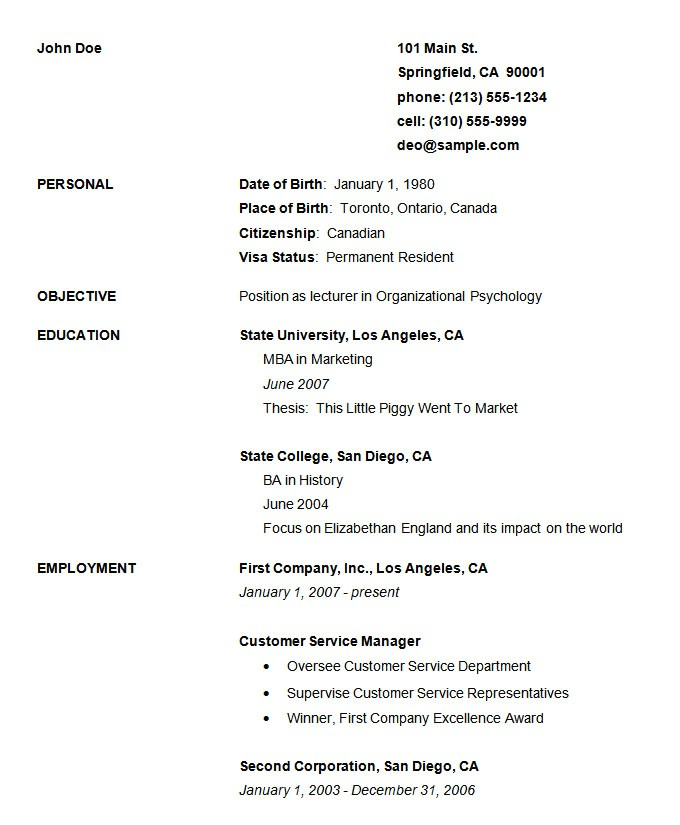 Free Simple Resume Template 70 Basic Resume Templates Pdf Doc Psd Free