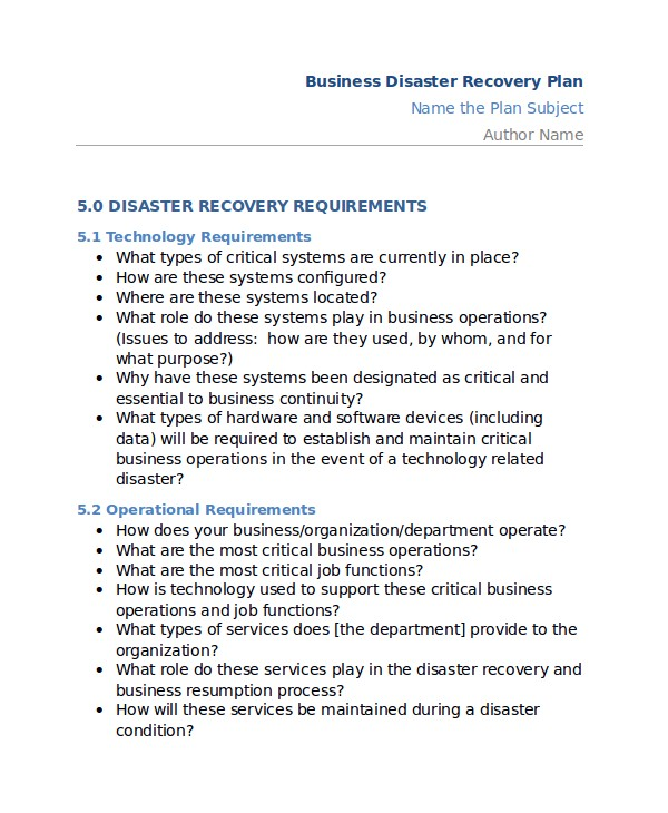 sample disaster recovery plan templates