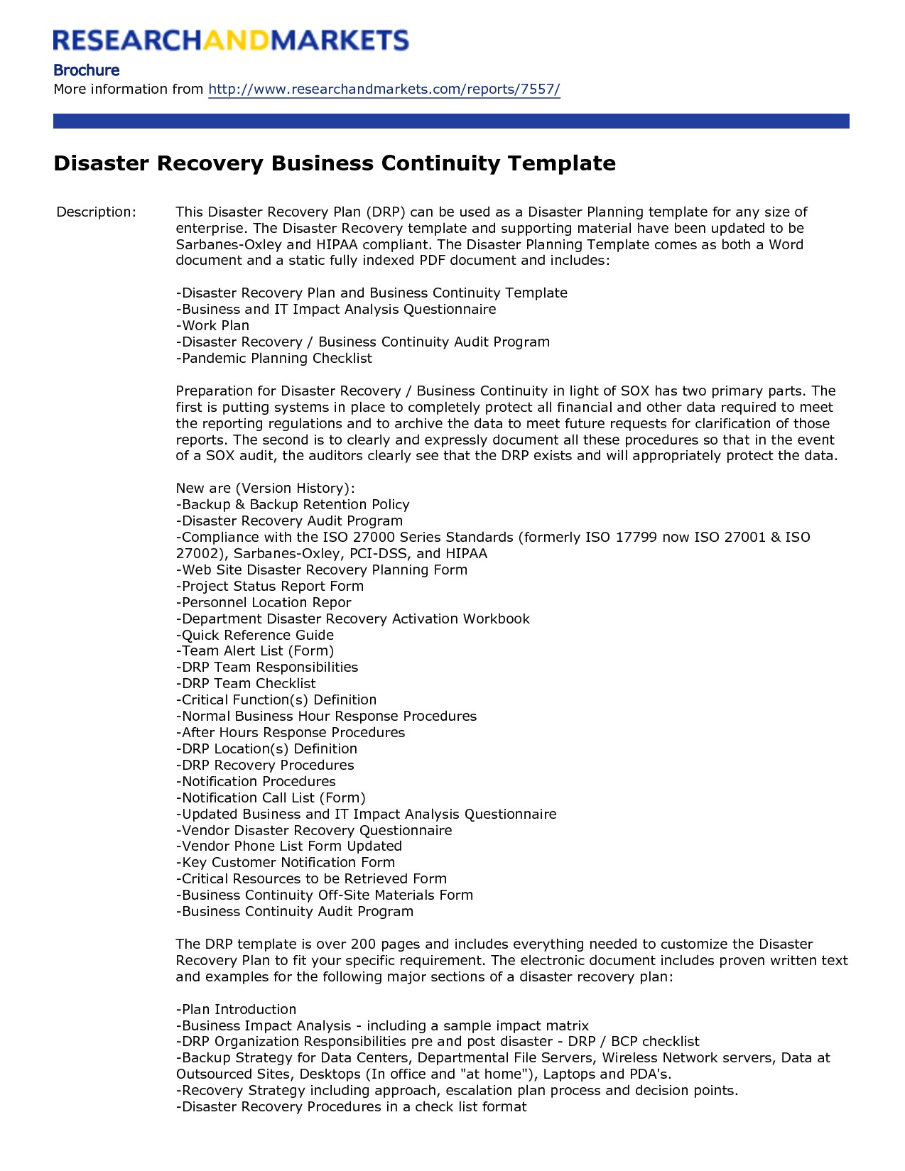 disaster recovery plan template free 276