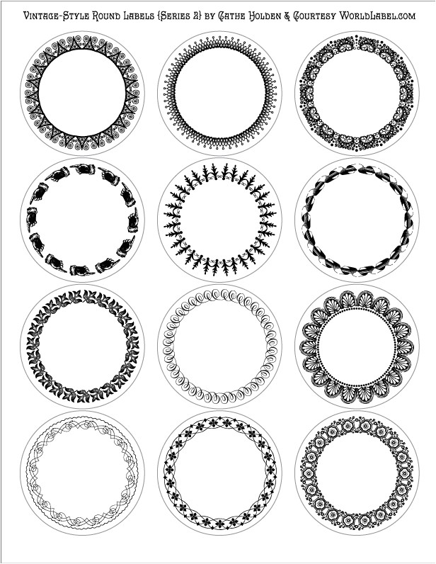 vintage style round labels by cathe holden series 2