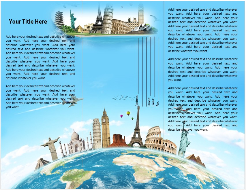 travel or tourist brochure template