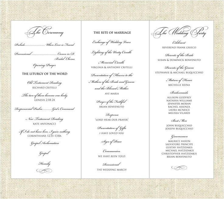 post tri fold printable wedding programs 354100
