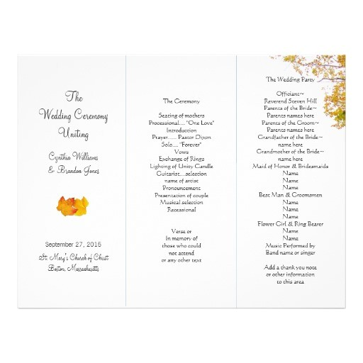 post tri fold wedding program templates 354262
